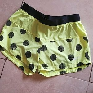 Nike Shorts - Nike Dri Fit Yellow Polka Dot Shorts